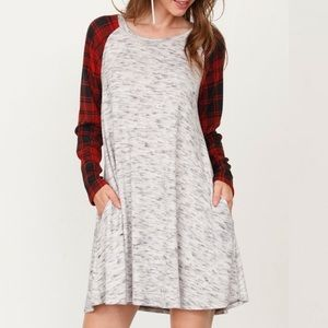 Heather Gray &Red Plaid-Accent Shift Dress